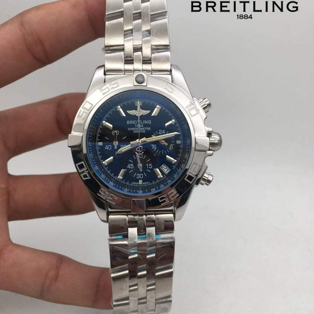Breitling Chronometer Silver Bracelet Men's Watch First Copy