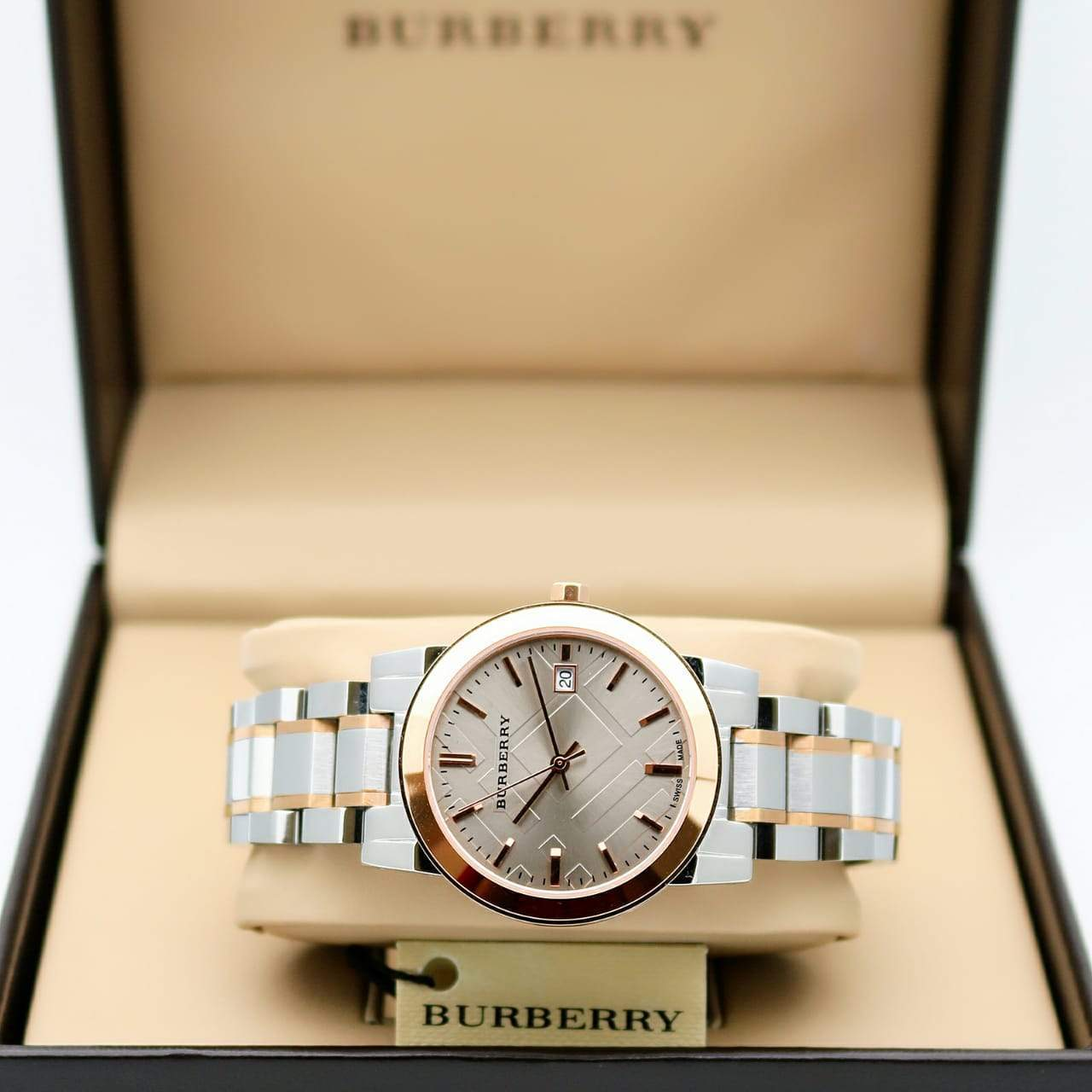 Burberry Textured Brown Dial Women's Watch First Copy
