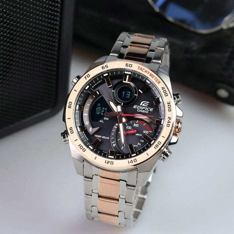 Casio Edifice ECB-900Y Series Black-Rose Gold Dial Bracelet Men's Watch First Copy
