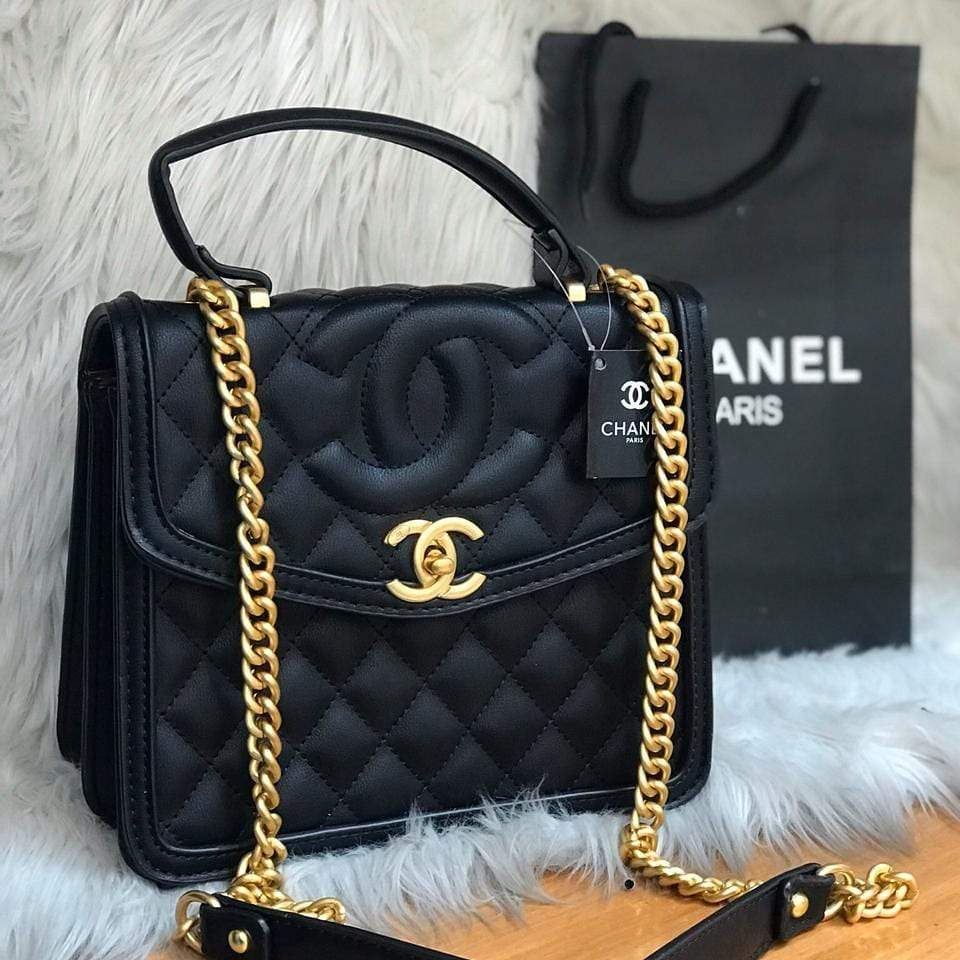 Chanel Black Top Handle Hand Bag First Copy