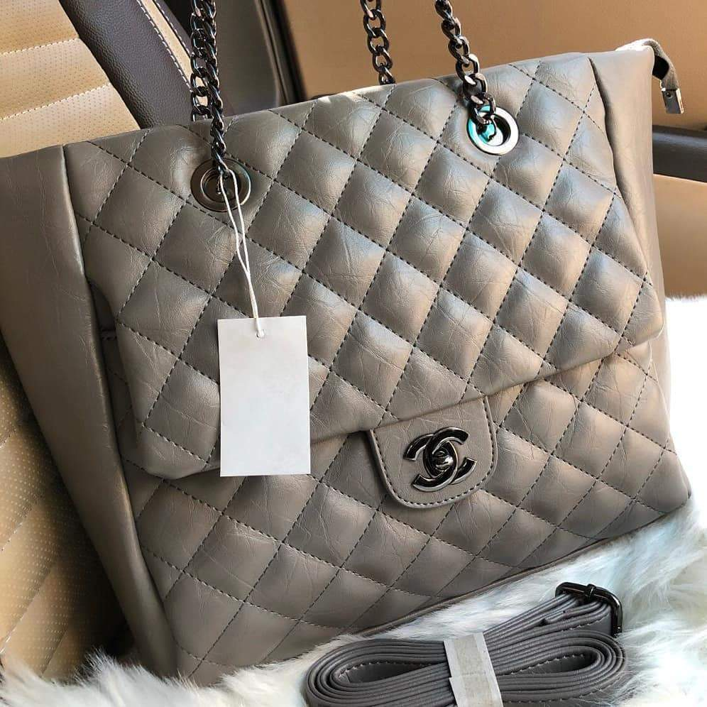 Chanel Grey Colour Tote Bag First Copy