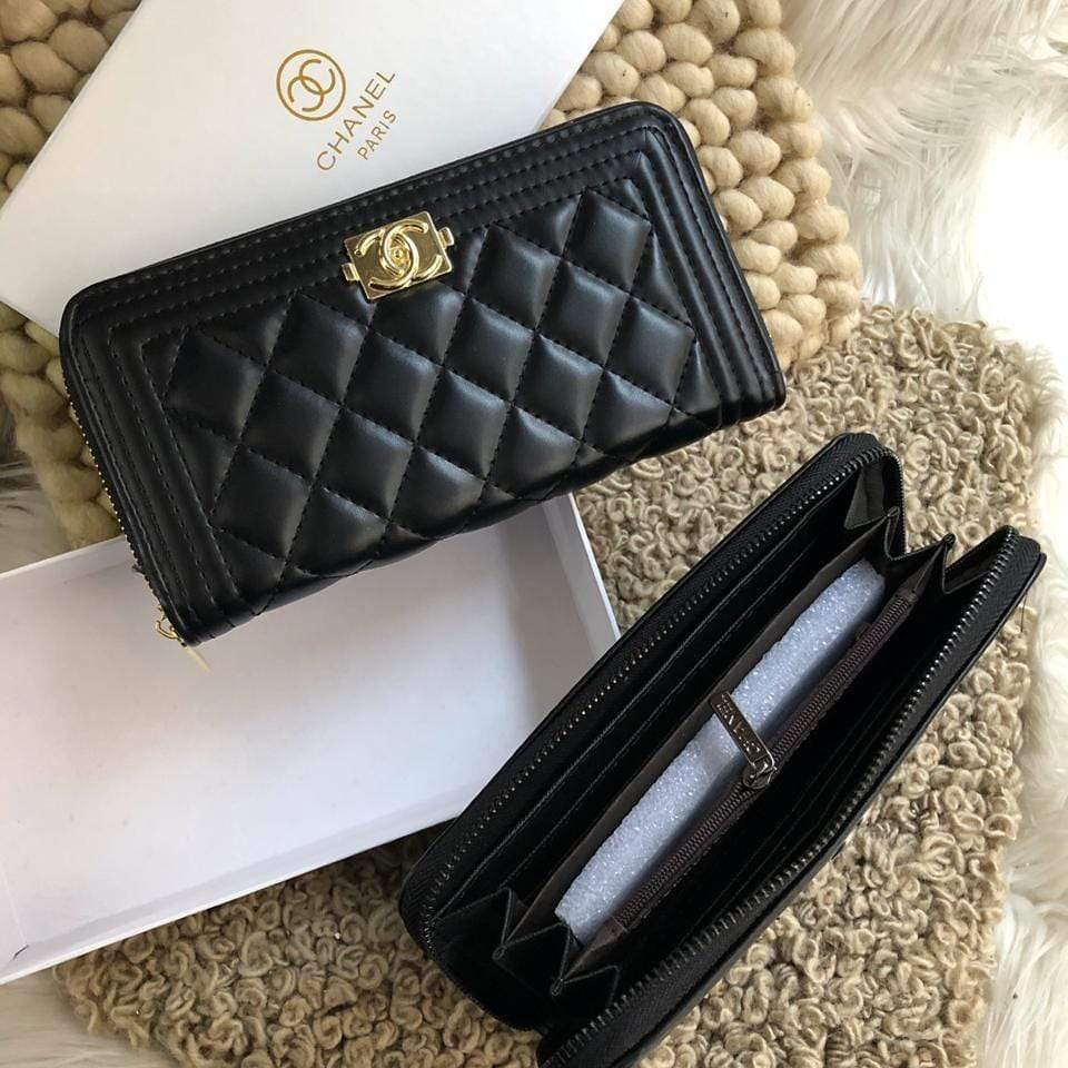 Chanel Leboy Black & Gold Wallet First Copy