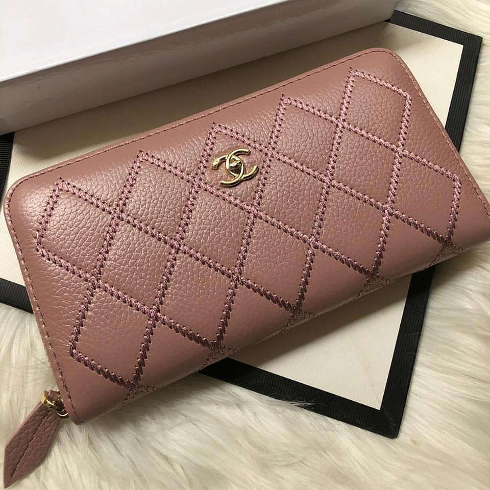 Chanel Pink Color Leather Wallet First Copy
