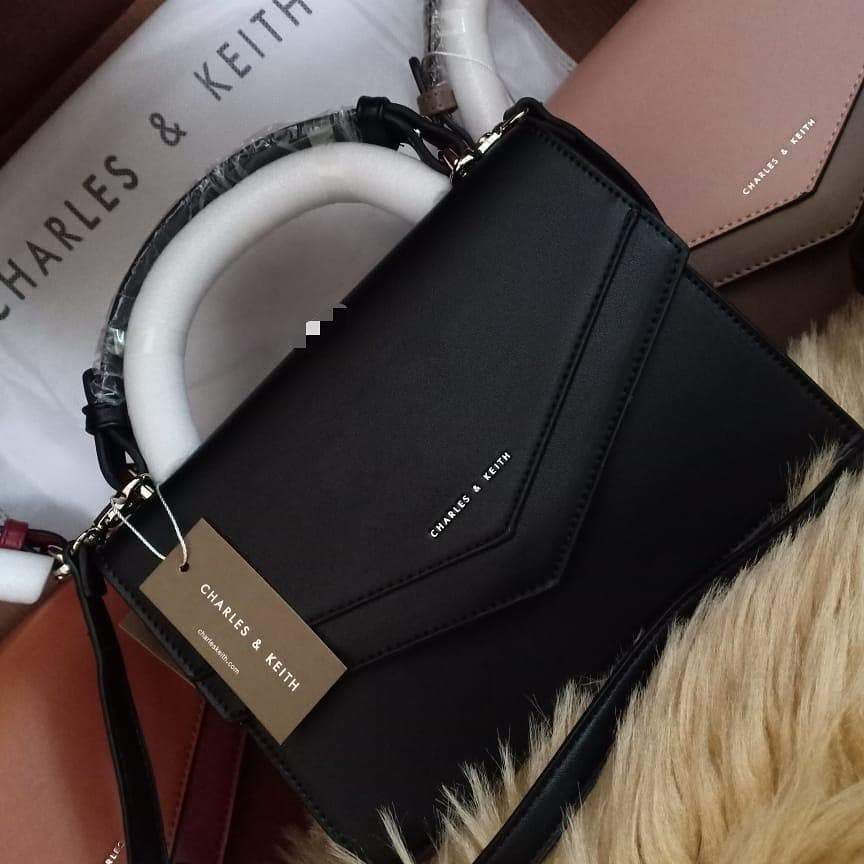 First Copy Charles and Keith Black Colour Envelop Style Hand Bag Cum Sling Bag
