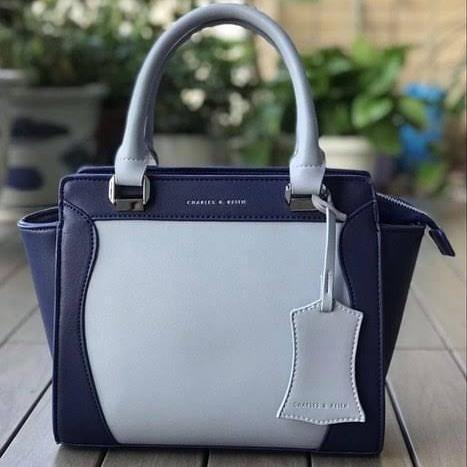 Charles and Keith Blue & Gray Colour Hand Bag First Copy