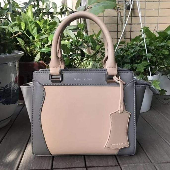 First Copy Charles and Keith Grey & Cream Colour Hand Bag