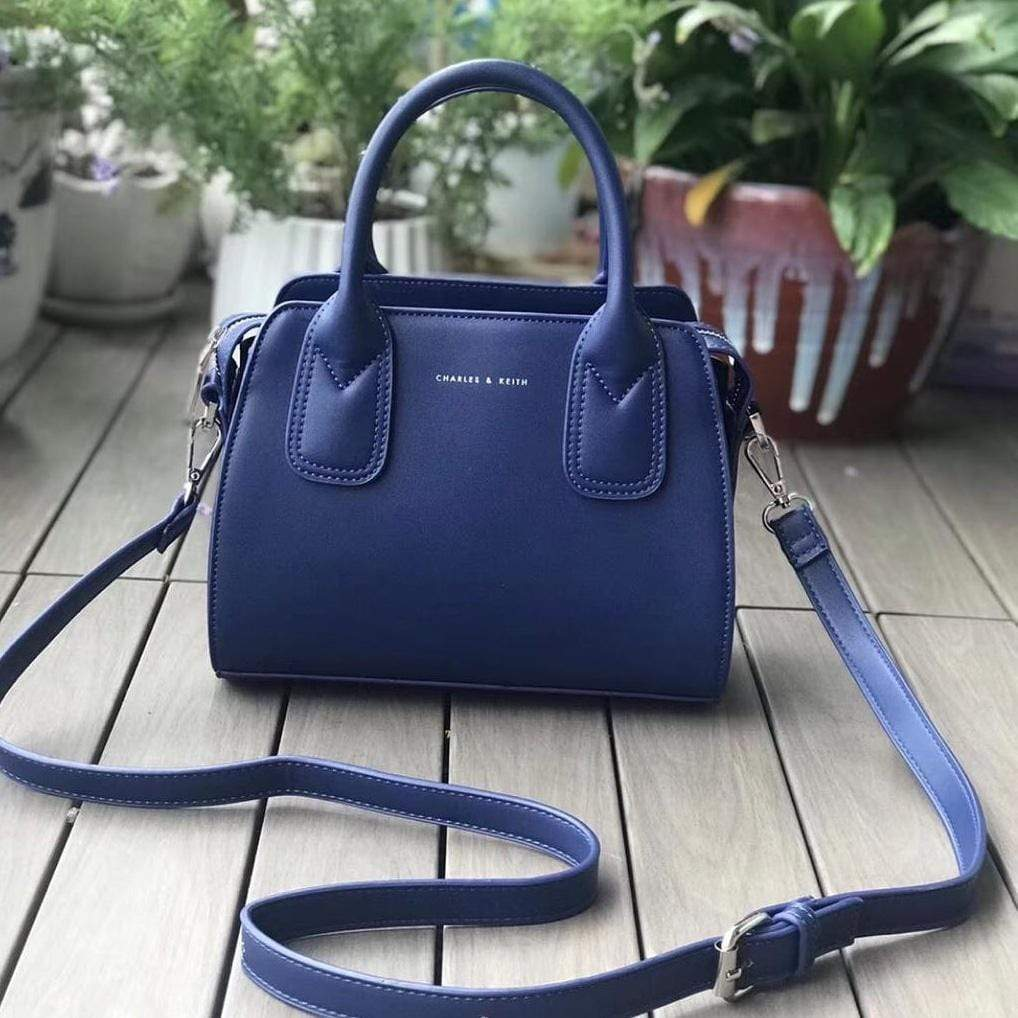 Charles and Keith Mini Speedy Blue Color Handbag First Copy