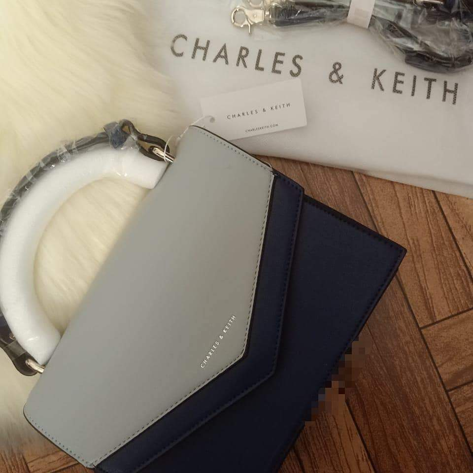 Charles and Keith Navy Blue With Gery Colour Envelop Style Hand Bag Cum Sling Bag First Copy