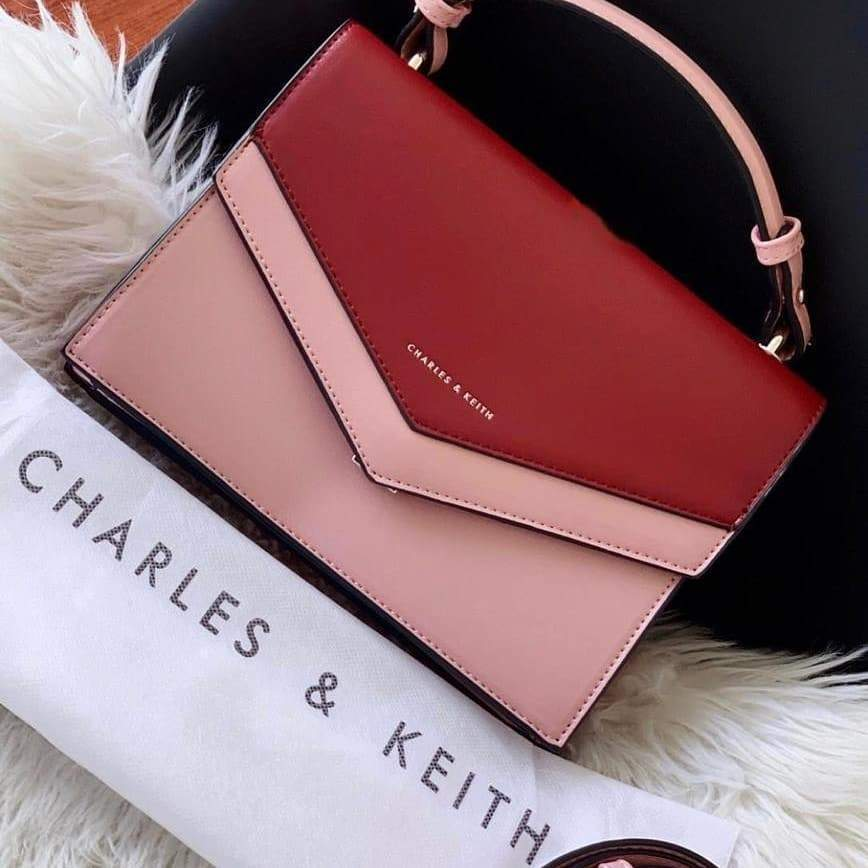 First Copy Charles and Keith Pink With Date Red Colour Envelop Style Hand Bag Cum Sling Bag