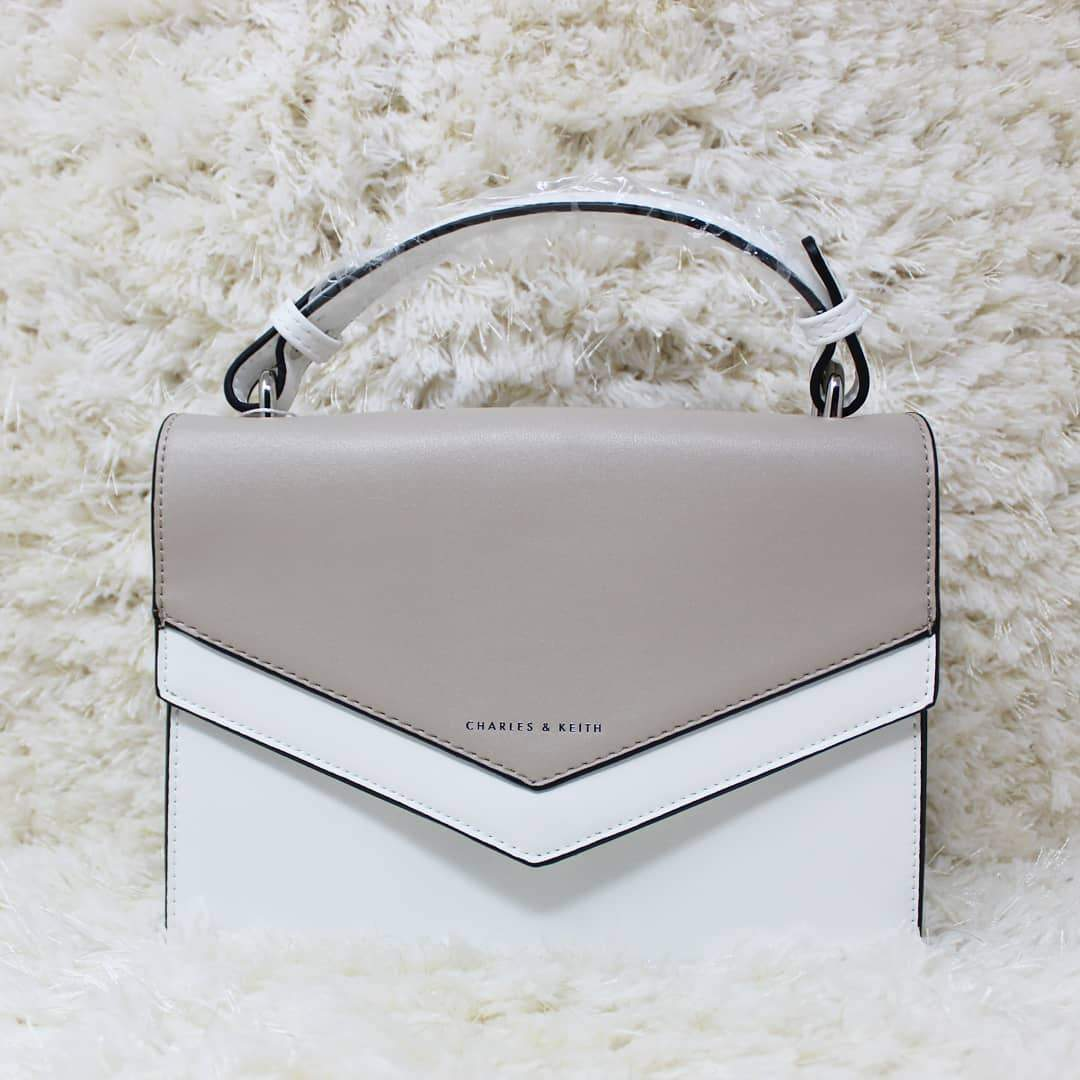 First Copy Charles and Keith White With Gray Colour Envelop Style Hand Bag Cum Sling Bag