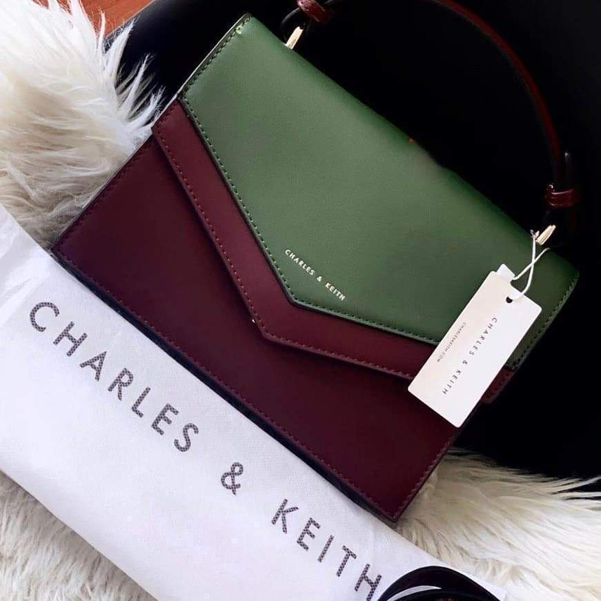 First Copy Charles and Keith Wine With Green Colour Envelop Style Hand Bag Cum Sling Bag