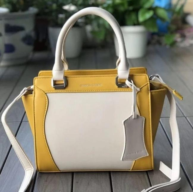 First Copy Charles and Keith Yellow & Cream Colour Hand Bag