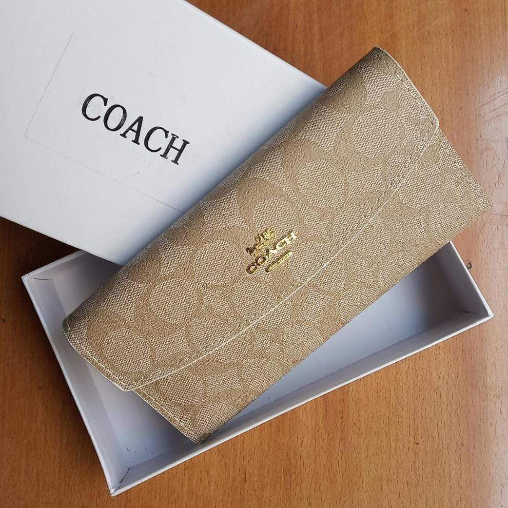 First Copy Coach 3 Fold Apricot Colour Wallet