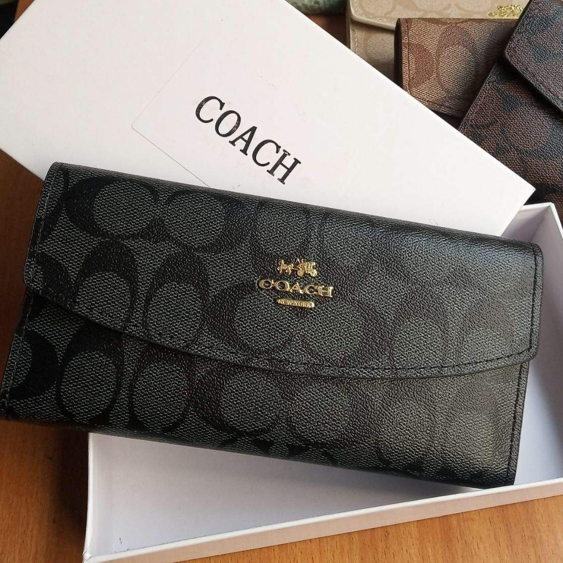 First Copy Coach 3 Fold Black Colour Wallet