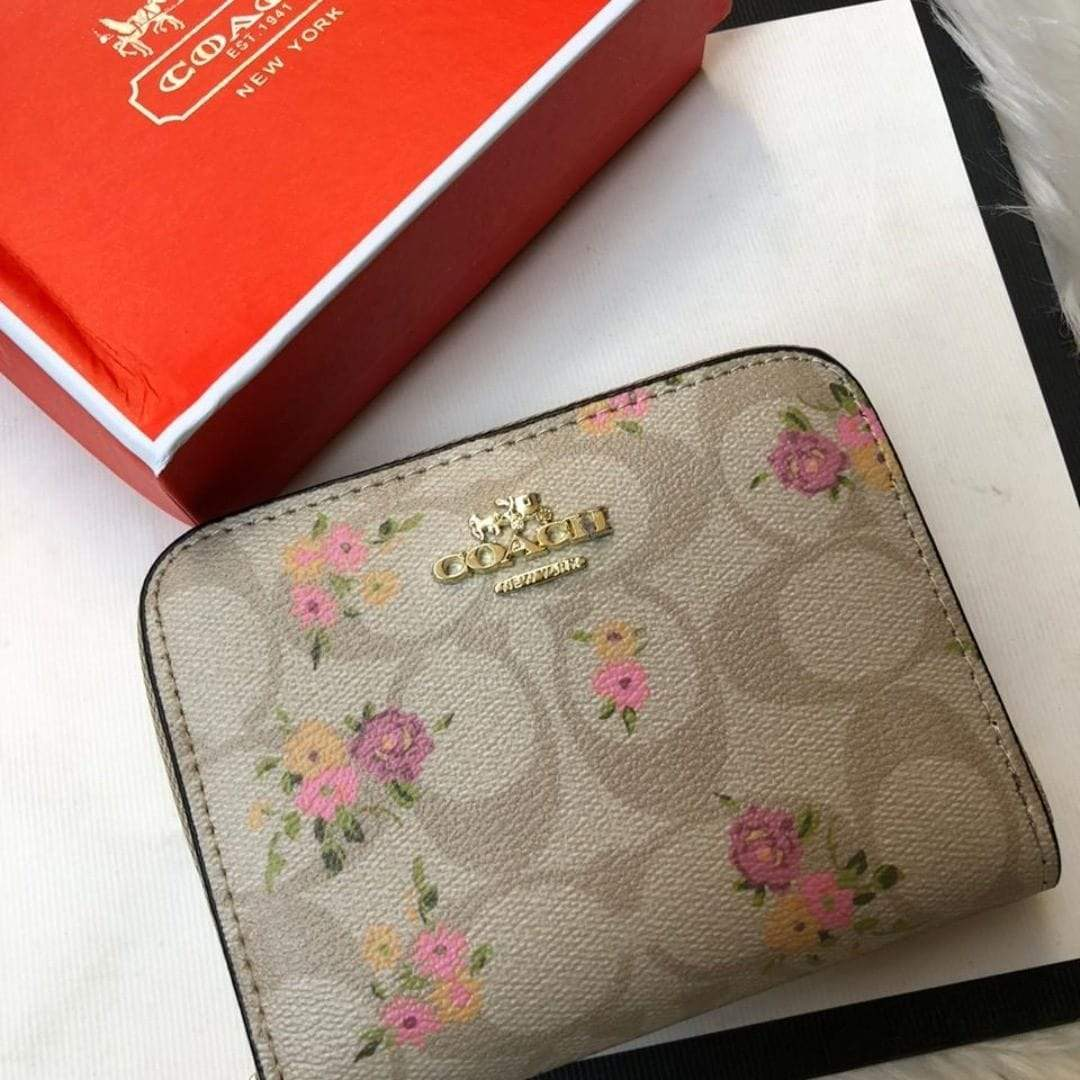 First Copy Coach Beige Flower Print Zipper Small Wallet