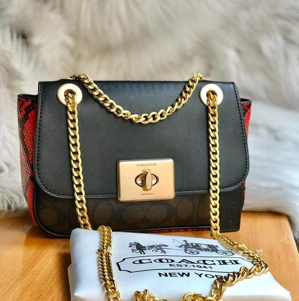 First Copy Coach CASSIDY Black and Coffee Colour Sling Bag