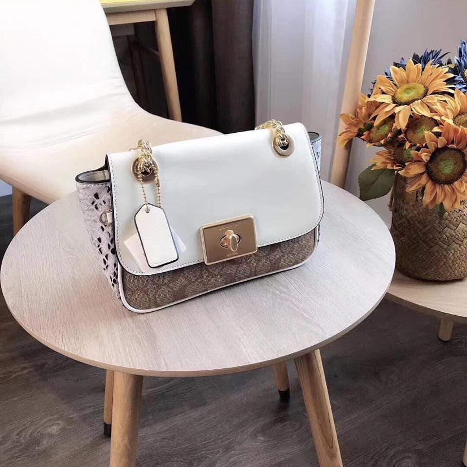 First Copy Coach CASSIDY Off-white & Appricot Colour Sling Bag