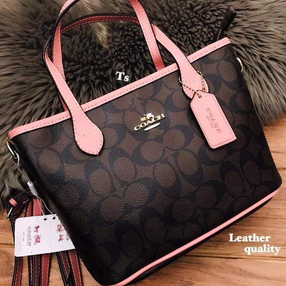 Coach Mini Coffee/Pink Colour Hand Bag First Copy
