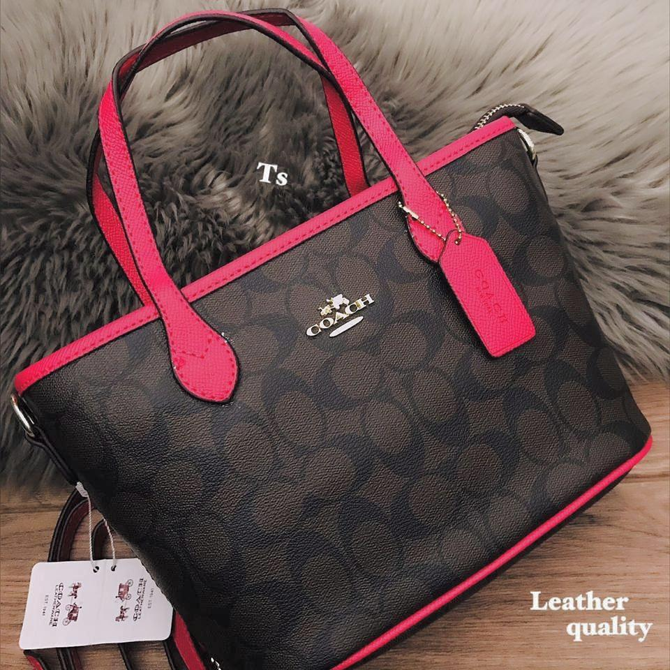 Coach Mini Coffee/Rose Red Colour Hand Bag First Copy