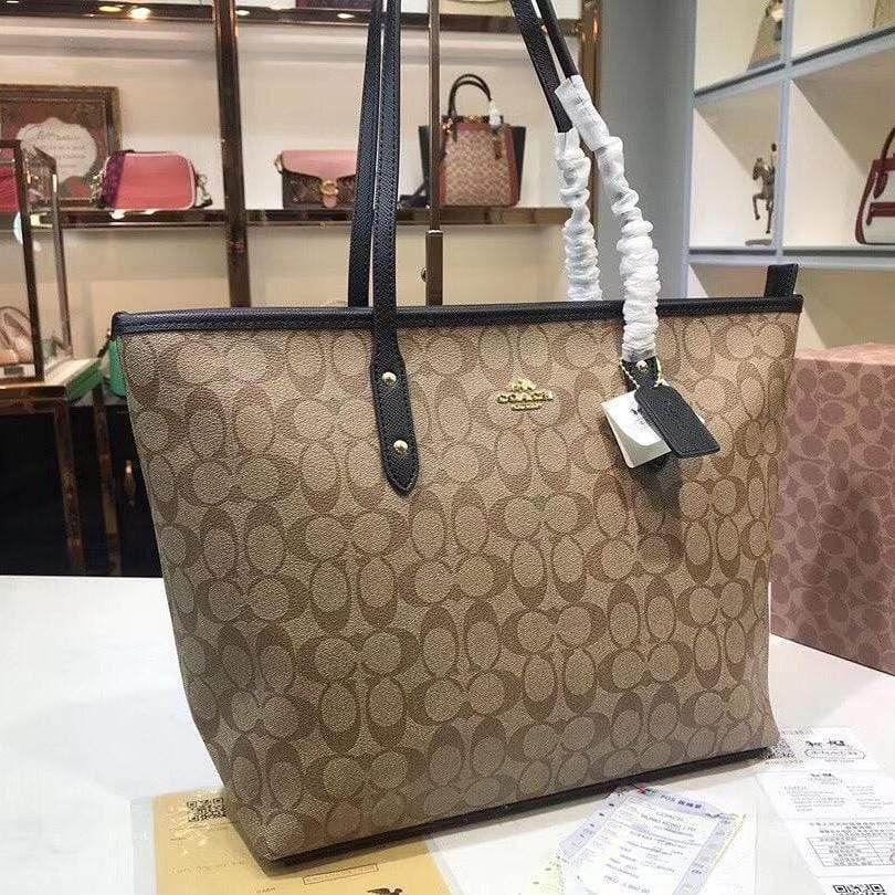 Coach Neverfull Apricot/ Black Color Tote Bag First Copy