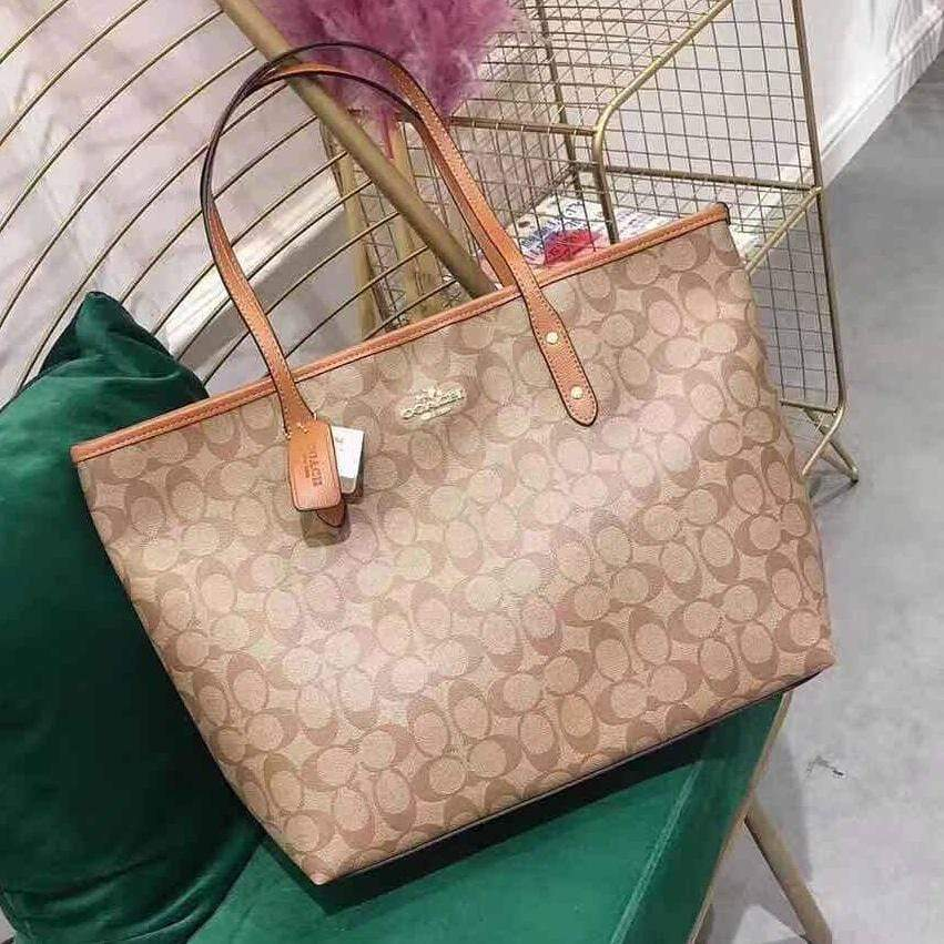 Coach Neverfull Apricot Color Tote Bag First Copy