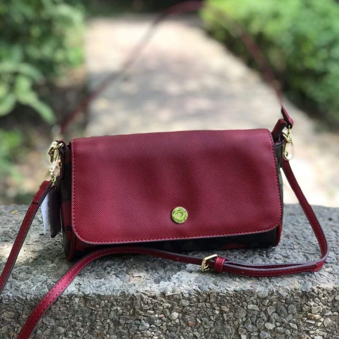 Coach REVERSIBLE FLAP Maroon Sling Bag First Copy
