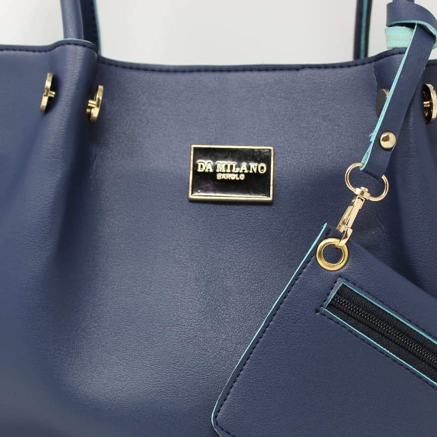 Da Milano Navy Blue Hand Bag And Pouch Set Of Two First Copy