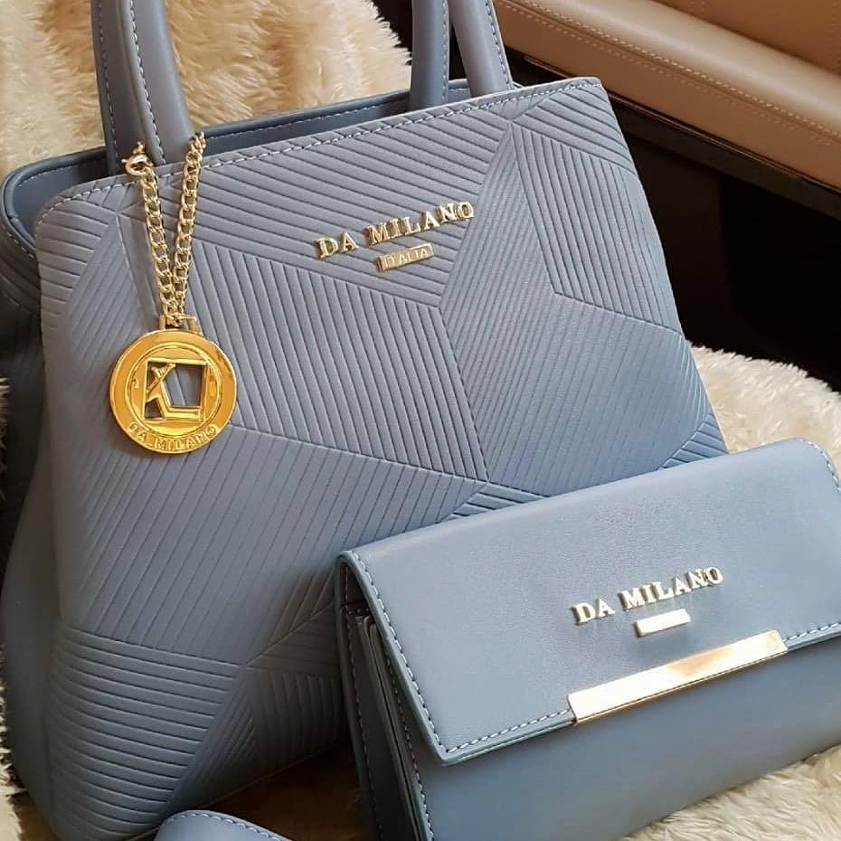 Da Milano Wallet and Handbag Set Of Two Skyblue First Copy