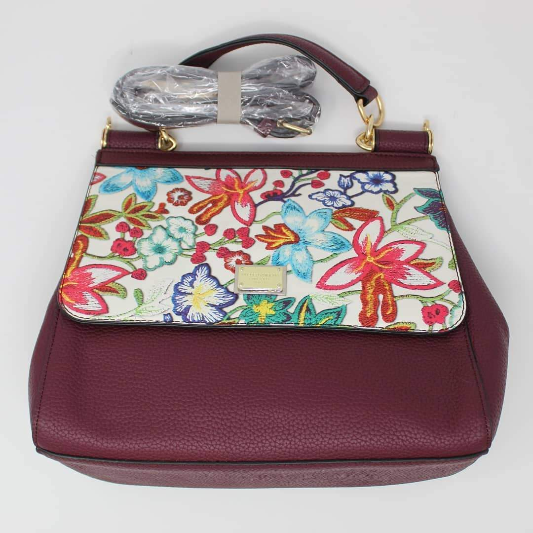First Copy Dolce & Gabbana (D&G) Wine Color Hand Bag