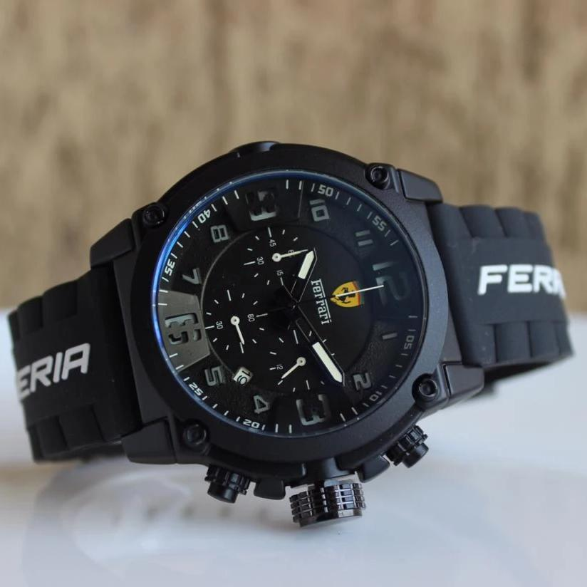 Ferrari 3D Dial Black Leather Strap Men's Watch First Copy