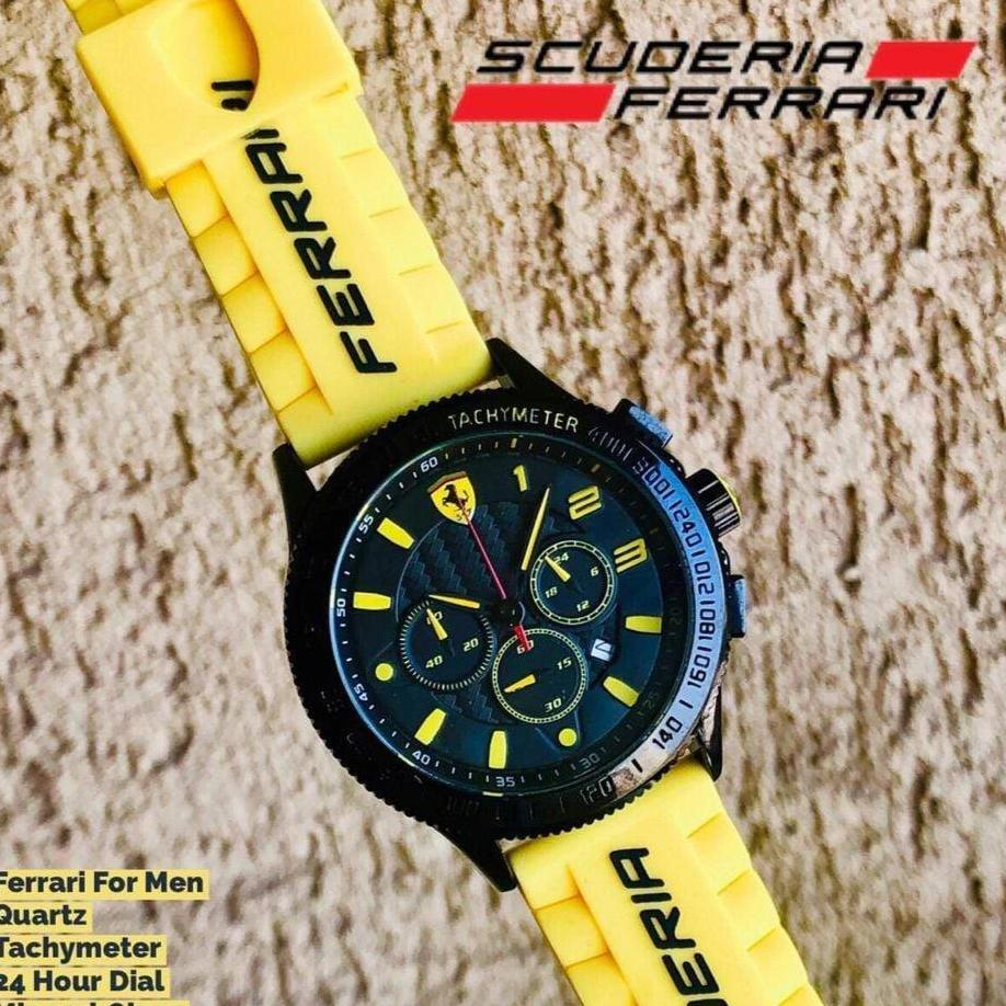 Ferrari 3D Dial Yellow Leather Strap Men's Watch First Copy