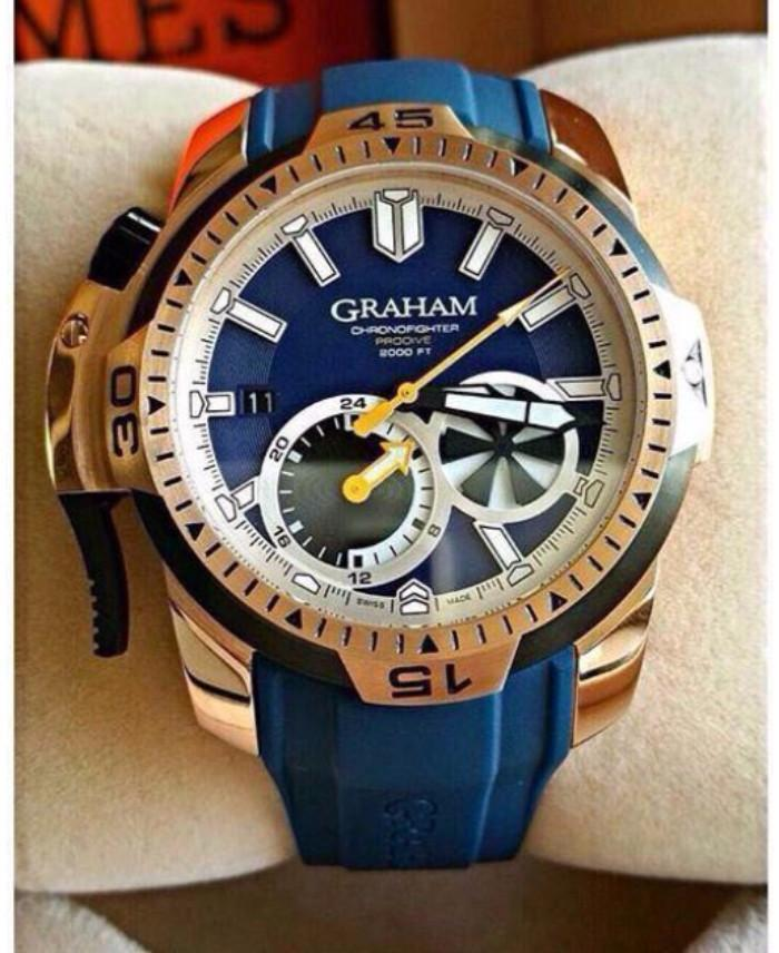 Graham Blue Dial Silicon Strap Men's Watch First Copy