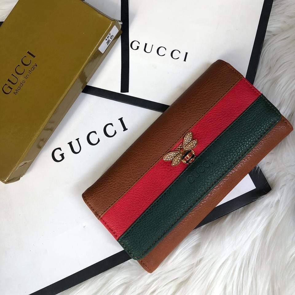 First Copy Gucci Bee 3 Fold Brown Wallet