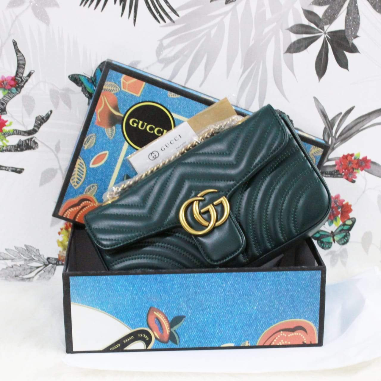 Gucci Dark Green Colour Sling Bag 1st copy 1732.greennew