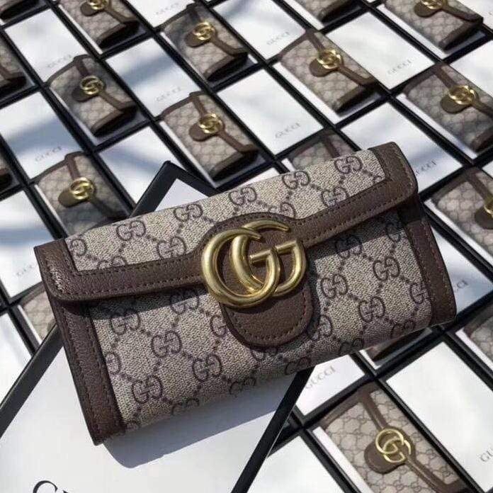 Gucci GG 3 Fold Coffee Wallet First Copy
