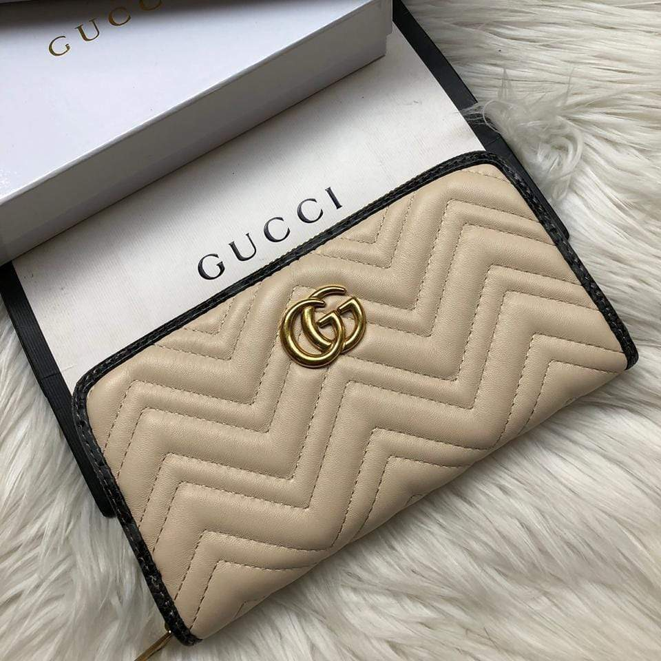 Gucci Grey Border Khaki Wallet First Copy