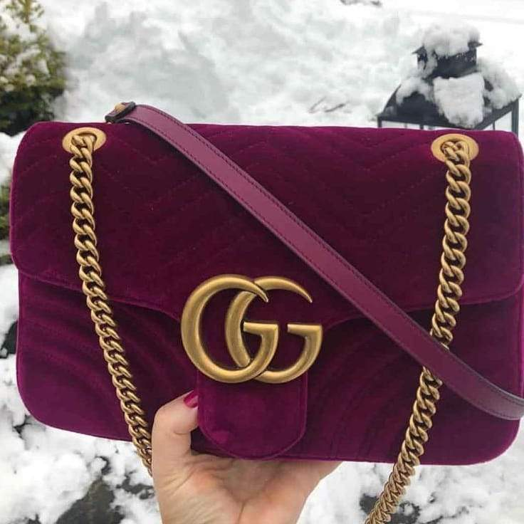 Gucci Marmont Purple Colour Velvet Design Sling Bag First Copy
