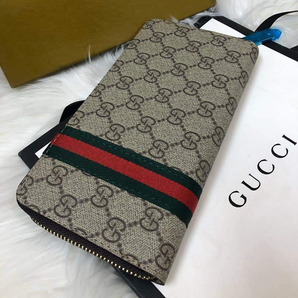Gucci Pattern Grey Wallet First Copy
