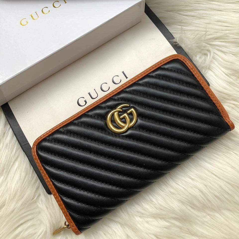 Gucci Tan Border Black Wallet First Copy