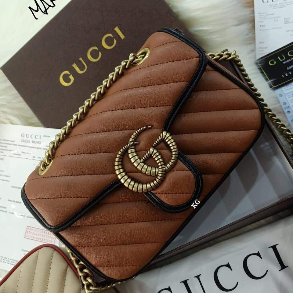 Gucci The Marmont Tan Color Sling Bag 1st copy gucci#2361earthyellow-black