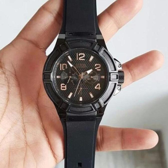 First Copy Guess Black Dial And Silicon Strap Men's Watch