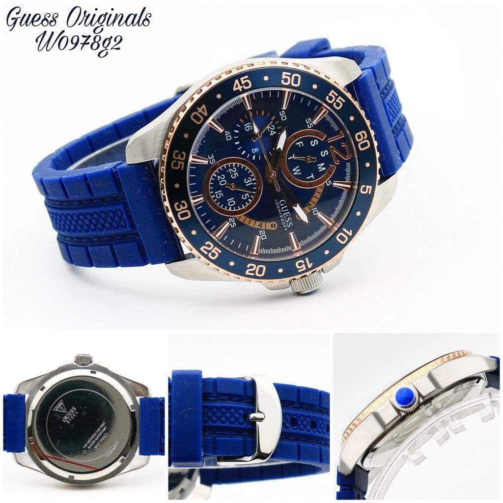 Guess W0798G2 Blue Dial Silicon Strap Men's Watch First Copy