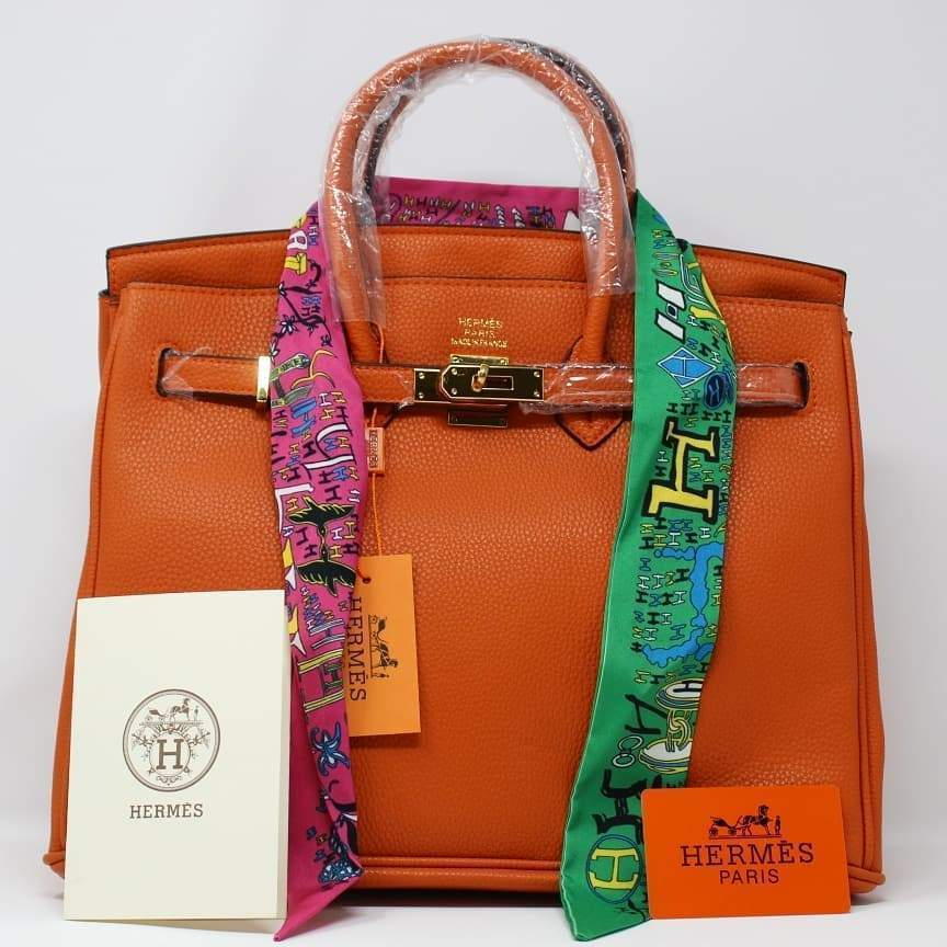 Hermes Birkin Orange Colour Hand Bag First Copy