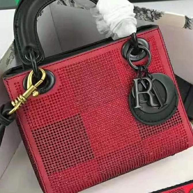 Lady Dior Mini Red Colour Party Handbag 1st copy DIOR#Red#D699