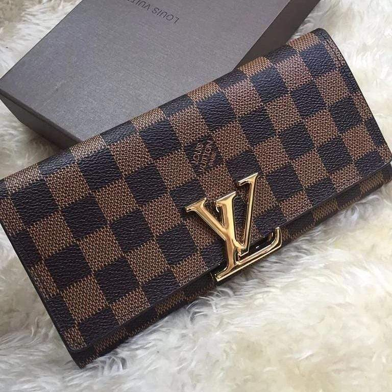 LV(Louis Vuitton) Check Coffee Wallet First Copy