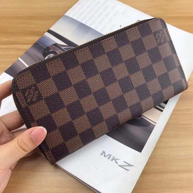 LV(Louis Vuitton) Check Coffee Zipper Wallet First Copy