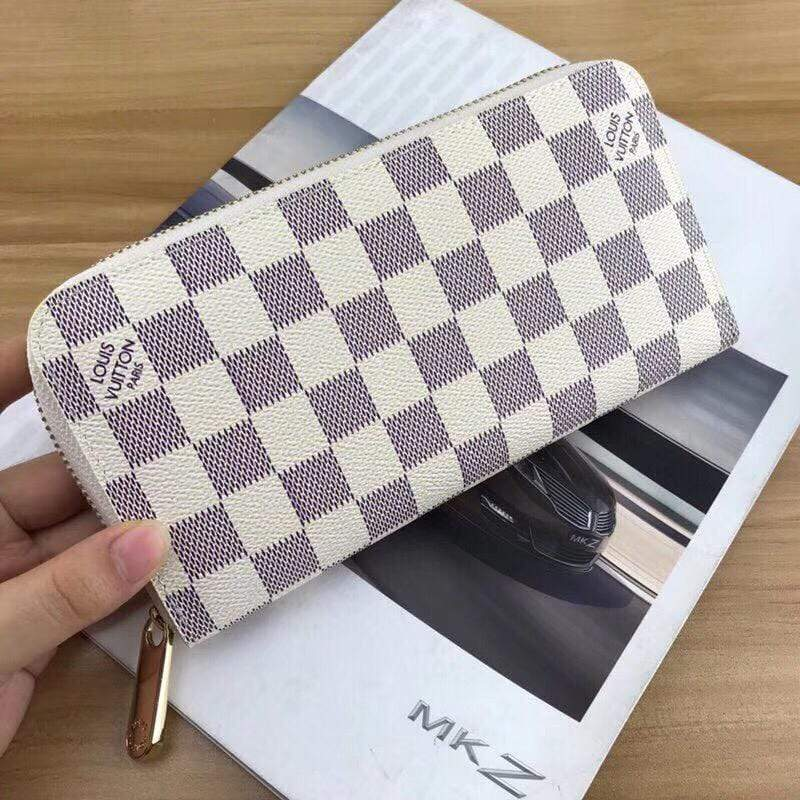 First Copy LV(Louis Vuitton) check white zipper wallet