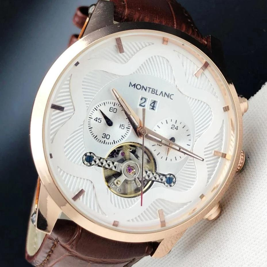 Montblanc Automatic White Dial Brown Leather Strap Men's Watch First Copy