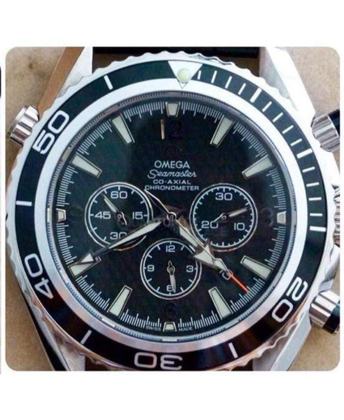 Omega Seamaster Black Dial Leather Strap Men's Watch 1st copy