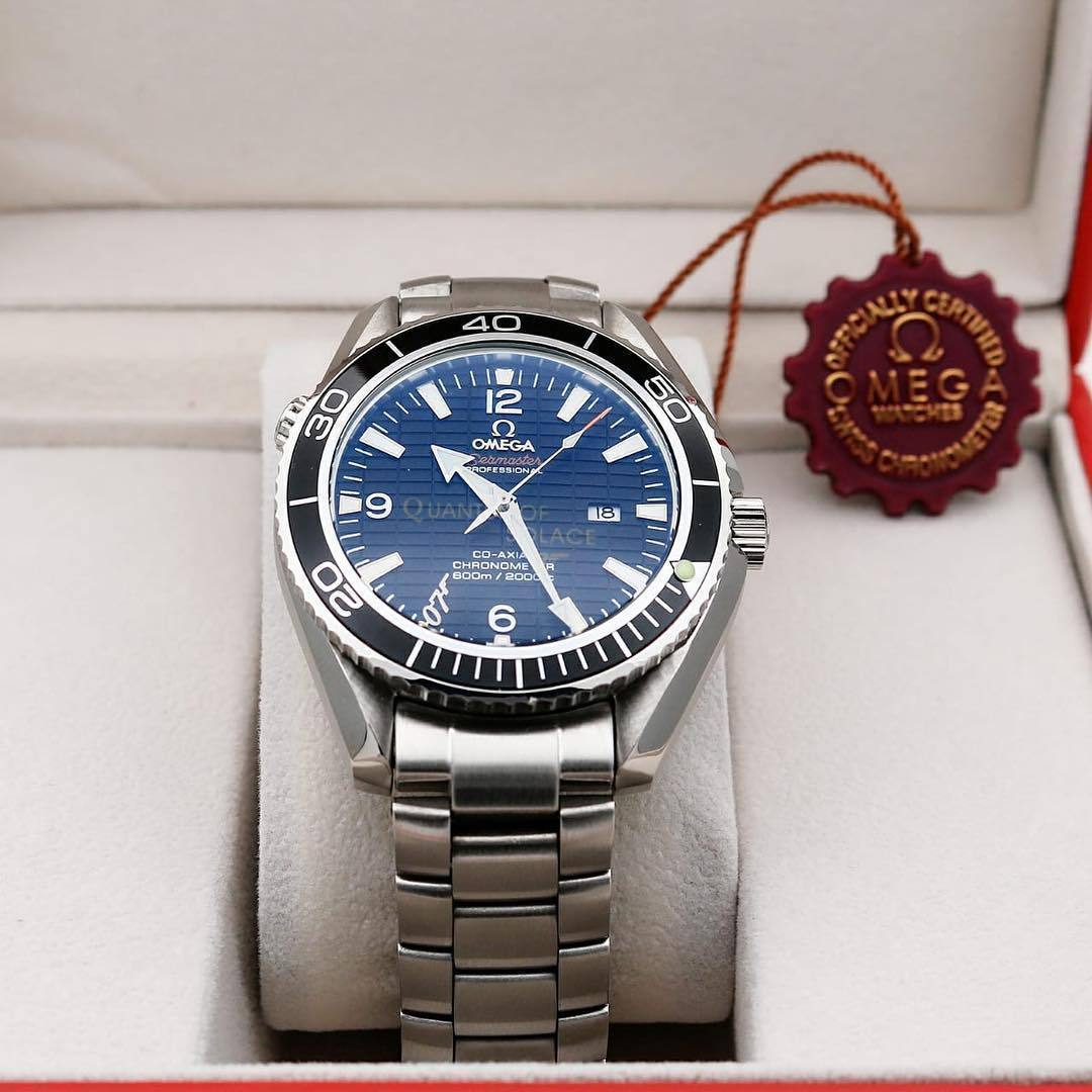 First Copy Omega Seamaster Crystal Sapphire Glass Silver Bracelet Men's Automatic Watch